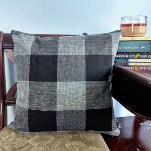 Black & White Buffalo Plaid Throw Pillow w/ Insert